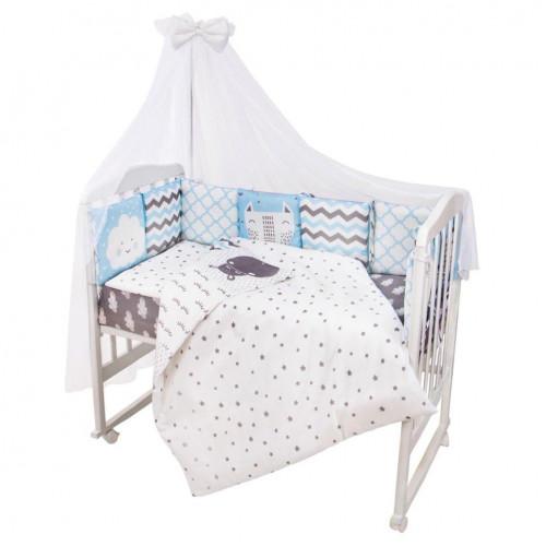 Комплект в кроватку Универсальный 17 предметов BABY BOO BLUE ПОПЛИН 1392