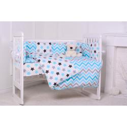 60132 Комплект в кроватку Звездный 7 предметов голубой