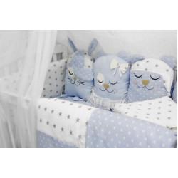 """Комплект в кроватку с игрушками """"Друзья"""" голубой ByTwinz"""