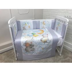Комплект в кроватку панно Слоник на облачке  6 предметов, Арт.40078