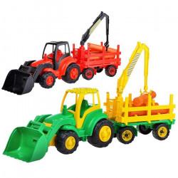 0483 Чемпион трактор с ковшом + прицеп-лесовоз