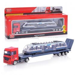 1045G-R Набор металл машин Тягач с трамваем длина 24 см