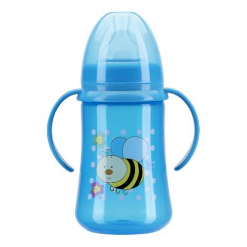 Бутылочка для кормления с ручками и силиконовой соской, широкое горло, 250 мл