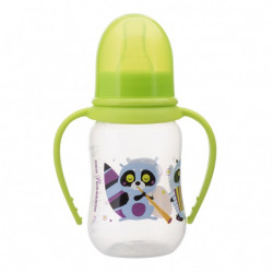 """Бутылочка для кормления эргономичной формы с ручками """"Енотики"""" 6+ 125 мл"""