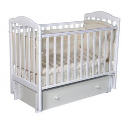 """Кровать детская """"Алита"""" (4/6) автостенка, универсальный маятник, закрытый ящик, белый"""