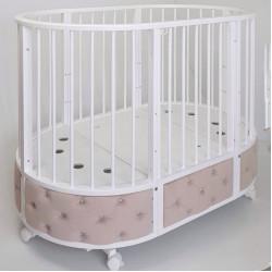 """Кровать детская овальная с маятником """"EVA"""" декор VIP (капучино/белый)"""