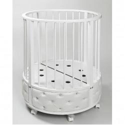 """Кровать детская овальная с маятником """"EVA"""" декор VIP (белый)"""