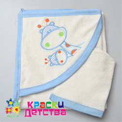 Полотенце-уголок, арт.: BBT 0340 (кремовый/голубой)