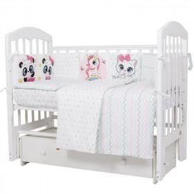 Комплект в кроватку Девочки  6 предметов перкаль  607