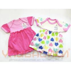 Боди - платье для девочки короткий рукав (кулирка)